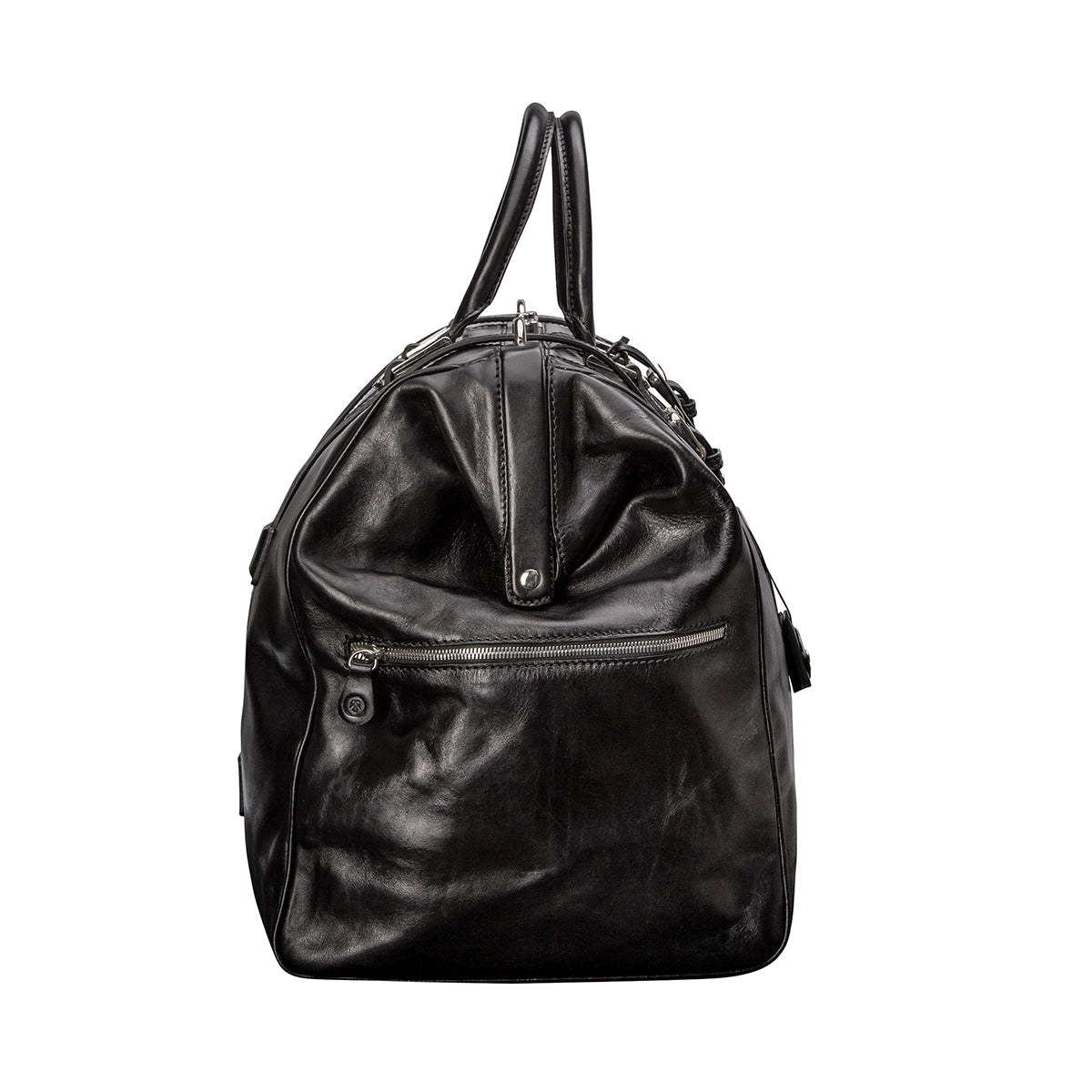 Image 3 of the 'Gassano L' Black Veg-Tanned Leather Holdall