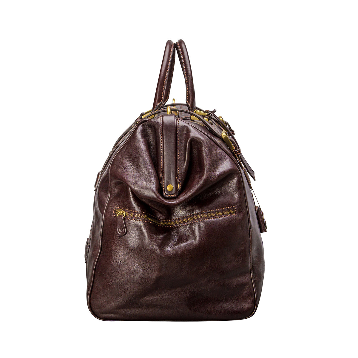 Image 3 of the 'Gassano L' Dark Chocolate Veg-Tanned Leather Holdall