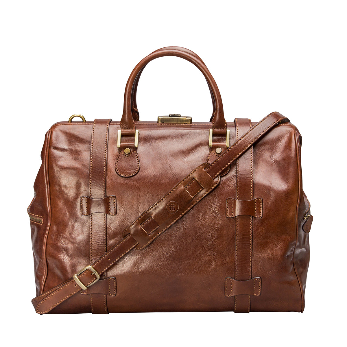 Image 4 of the 'Gassano M' Chestnut Veg-Tanned Leather Holdall