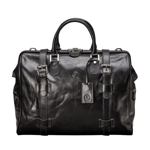 Image 1 of the 'Gassano M' Black Veg-Tanned Leather Holdall