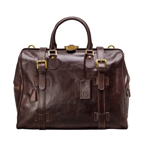 Image 1 of the 'Gassano M' Dark Chocolate Veg-Tanned Leather Holdall