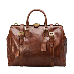 Image 1 of the 'Gassano M' Chestnut Veg-Tanned Leather Holdall