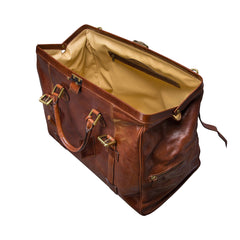 Image 5 of the 'Gassano M' Chestnut Veg-Tanned Leather Holdall