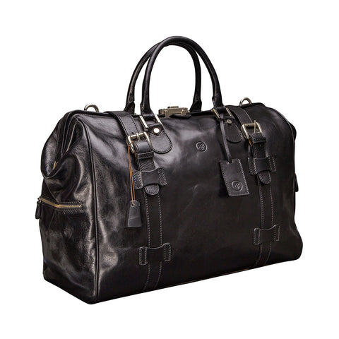 Image 2 of the 'Gassano M' Black Veg-Tanned Leather Holdall