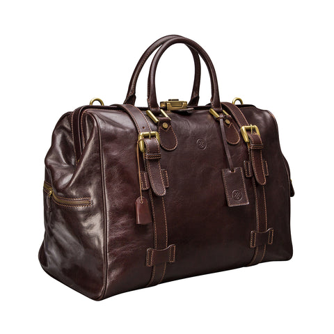 Image 2 of the 'Gassano M' Dark Chocolate Veg-Tanned Leather Holdall