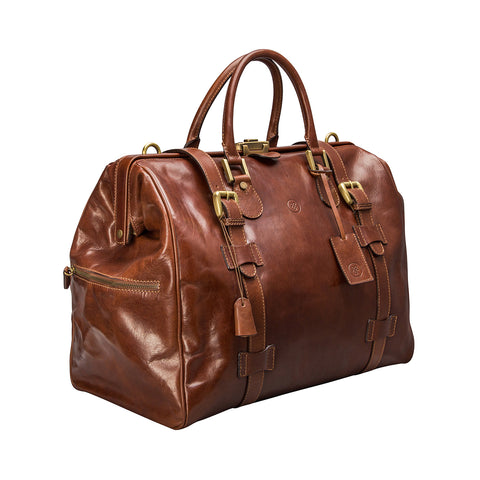 Image 2 of the 'Gassano M' Chestnut Veg-Tanned Leather Holdall