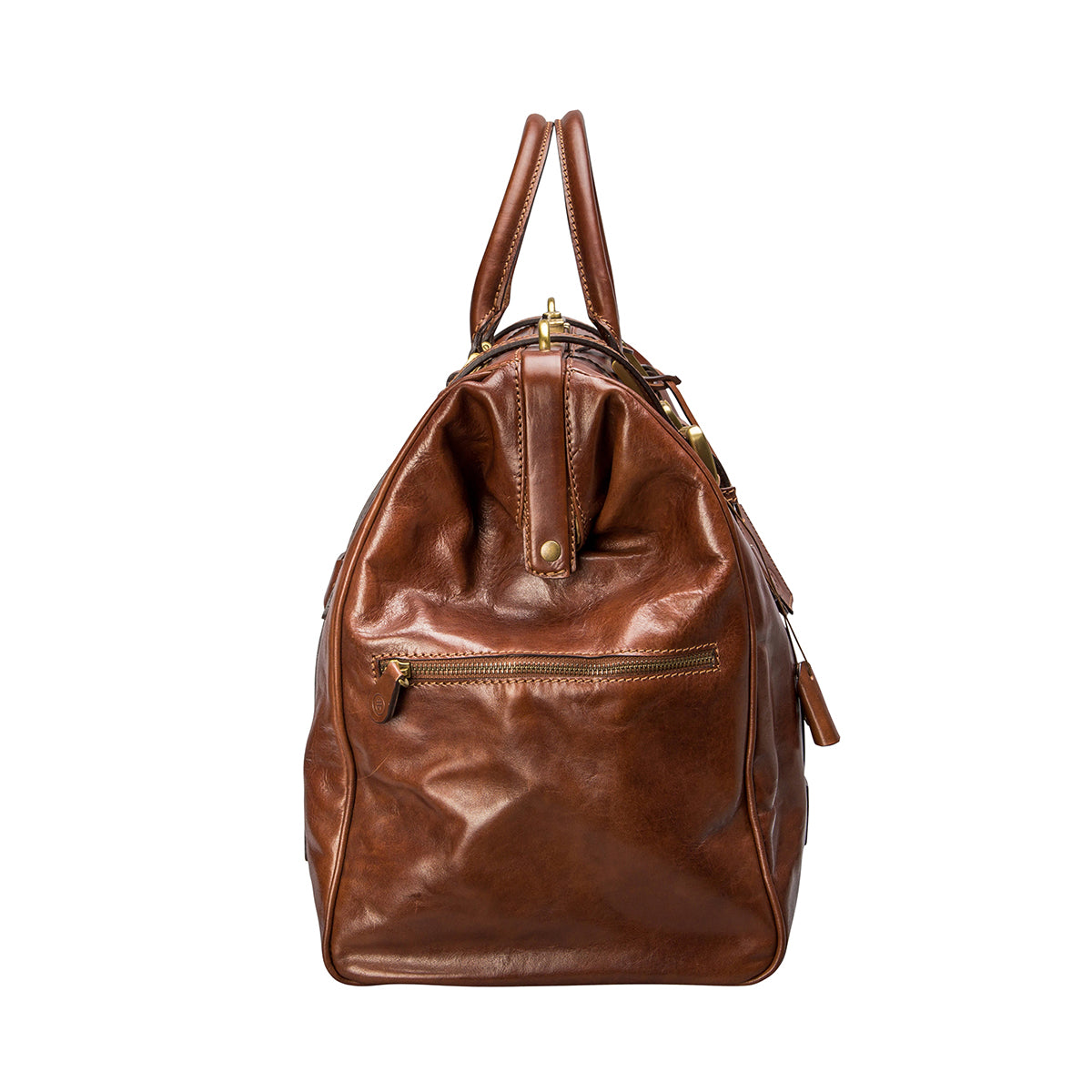 Image 3 of the 'Gassano M' Chestnut Veg-Tanned Leather Holdall