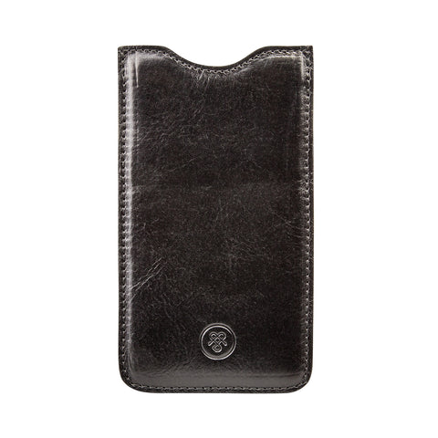 Image 1 of the 'Dosolo' Black Veg-Tanned Leather iPhone 6+ Size Case