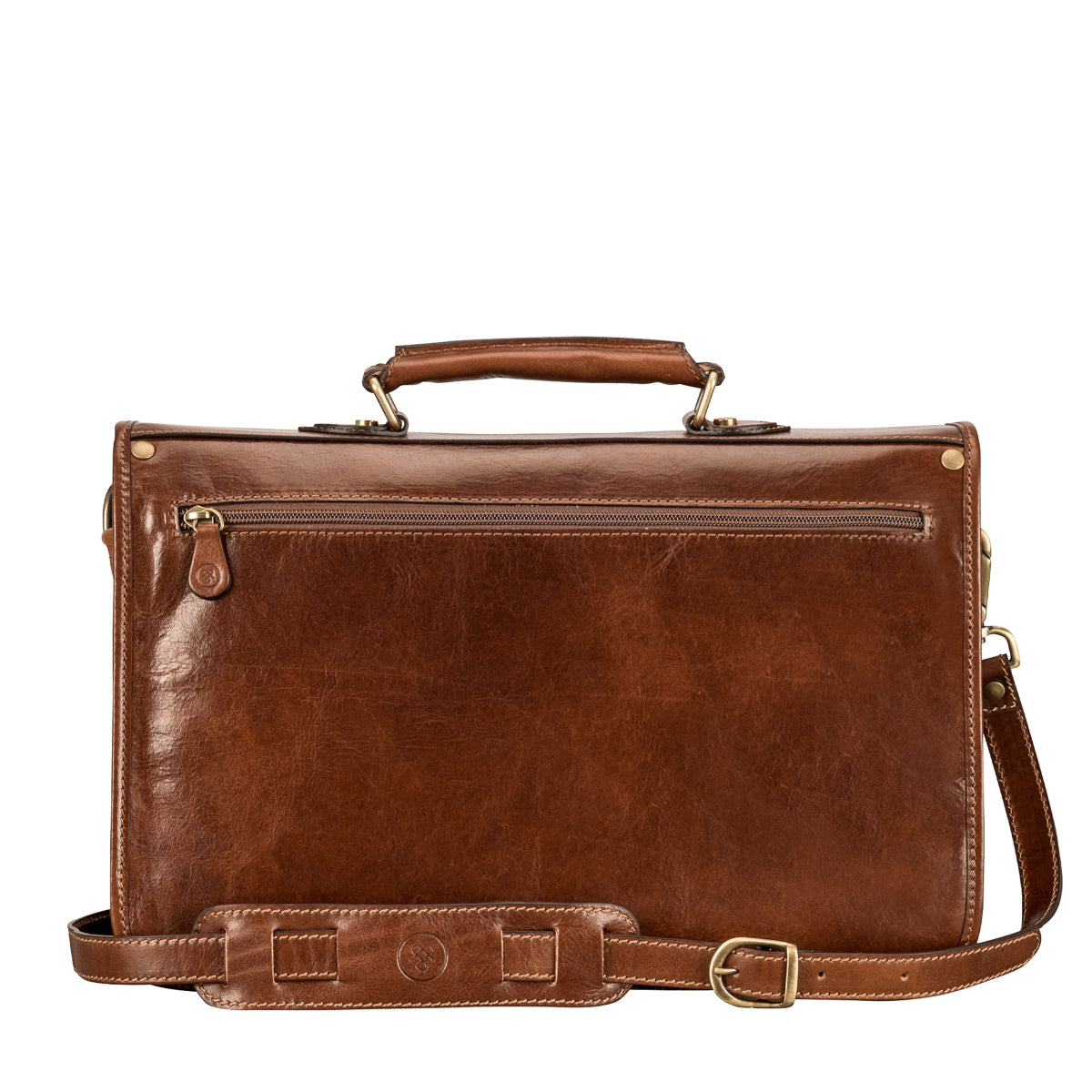 Image 4 of the 'Jesolo Due' Chestnut Veg-Tanned Leather Satchel