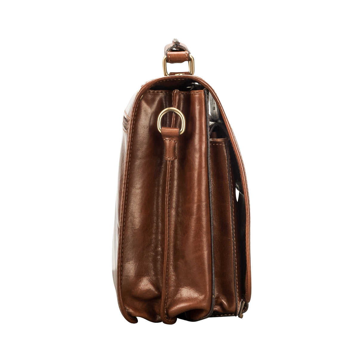Image 3 of the 'Jesolo Due' Chestnut Veg-Tanned Leather Satchel