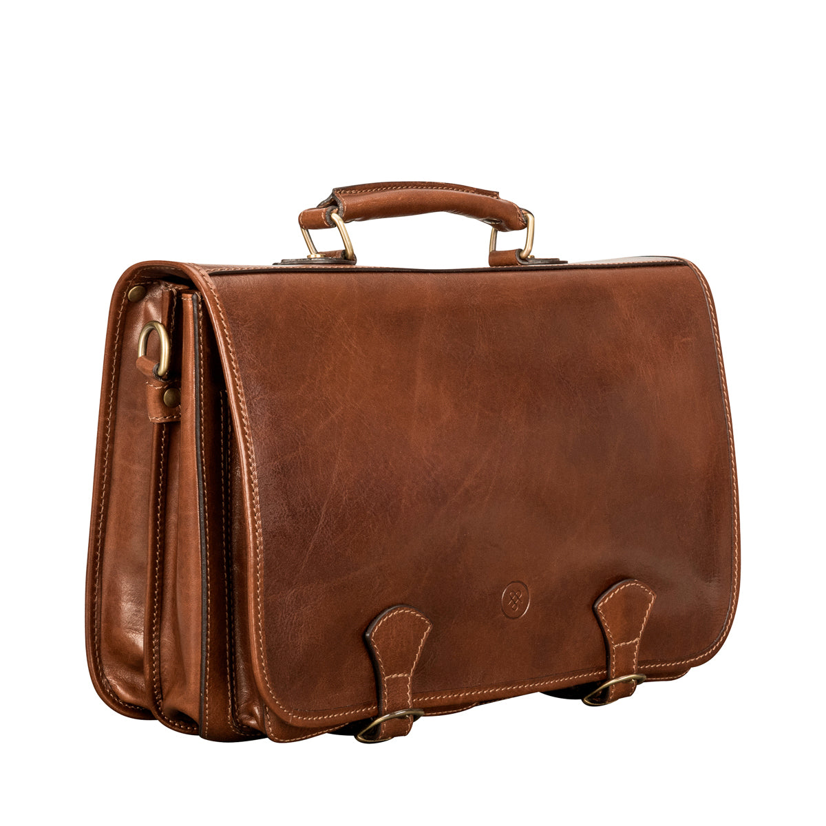 Image 2 of the 'Jesolo Due' Chestnut Veg-Tanned Leather Satchel