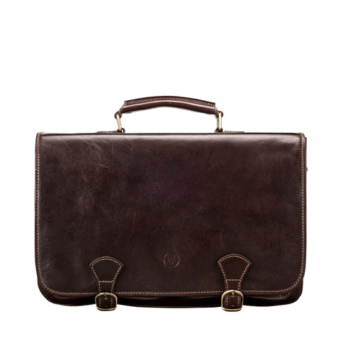 Image 1 of the 'Jesolo Due' Dark Chocolate Veg-Tanned Leather Satchel