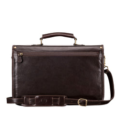 Image 4 of the 'Jesolo Due' Dark Chocolate Veg-Tanned Leather Satchel