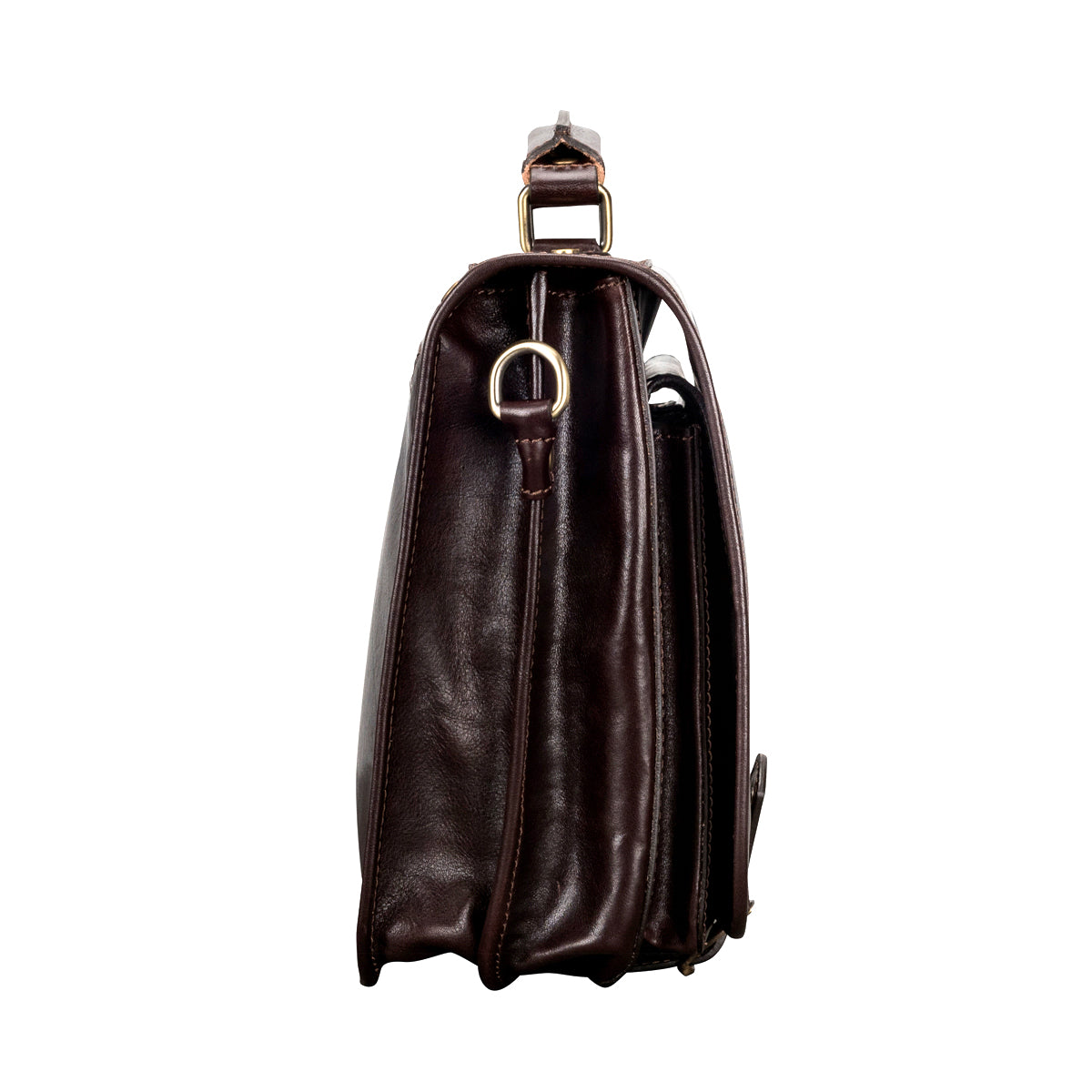 Image 3 of the 'Jesolo Due' Dark Chocolate Veg-Tanned Leather Satchel