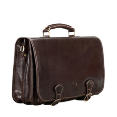 Image 2 of the 'Jesolo Due' Dark Chocolate Veg-Tanned Leather Satchel