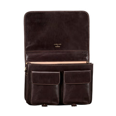 Image 6 of the 'Jesolo Due' Dark Chocolate Veg-Tanned Leather Satchel