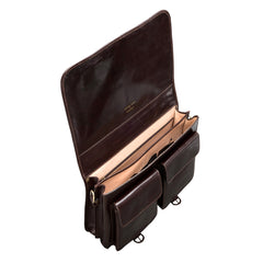 Image 5 of the 'Jesolo Due' Dark Chocolate Veg-Tanned Leather Satchel