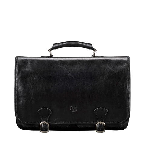 Image 1 of the 'Jesolo Due' Black Veg-Tanned Leather Satchel