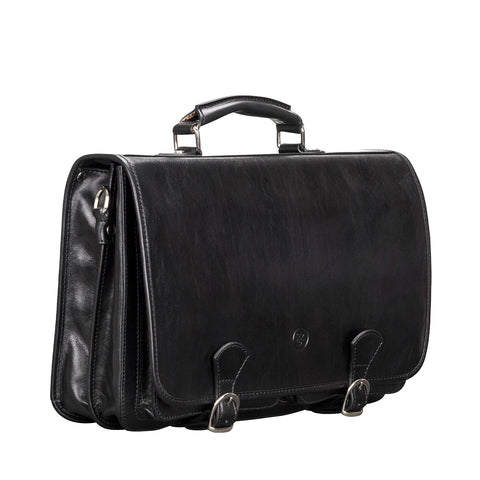 Image 2 of the 'Jesolo Due' Black Veg-Tanned Leather Satchel