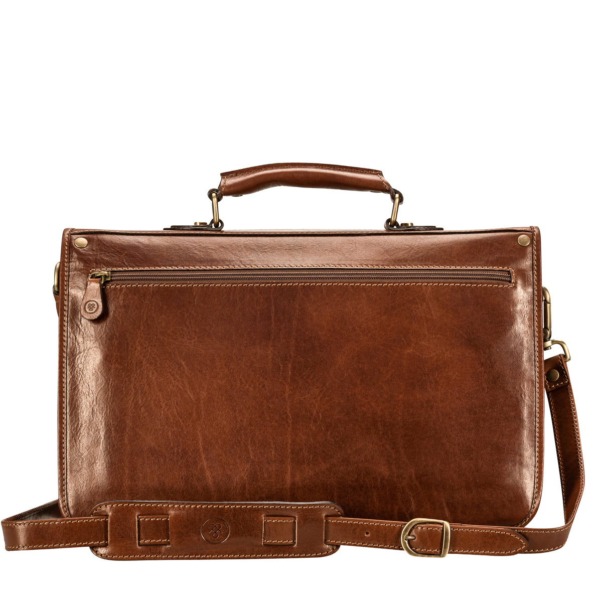 Image 4 of the 'Jesolo Tre' Chestnut Veg-Tanned Leather Satchel