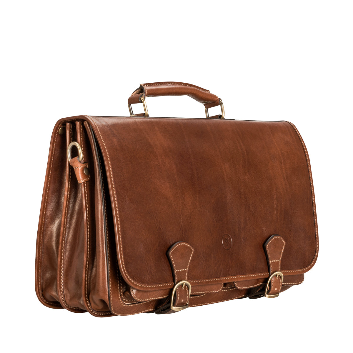Image 2 of the 'Jesolo Tre' Chestnut Veg-Tanned Leather Satchel