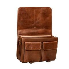 Image 5 of the 'Jesolo Tre' Chestnut Veg-Tanned Leather Satchel