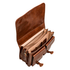 Image 6 of the 'Jesolo Tre' Chestnut Veg-Tanned Leather Satchel
