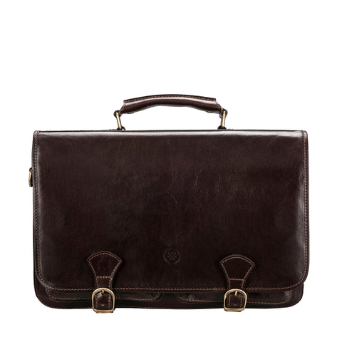 Image 1 of the 'Jesolo Tre' Dark Chocolate Veg-Tanned Leather Satchel