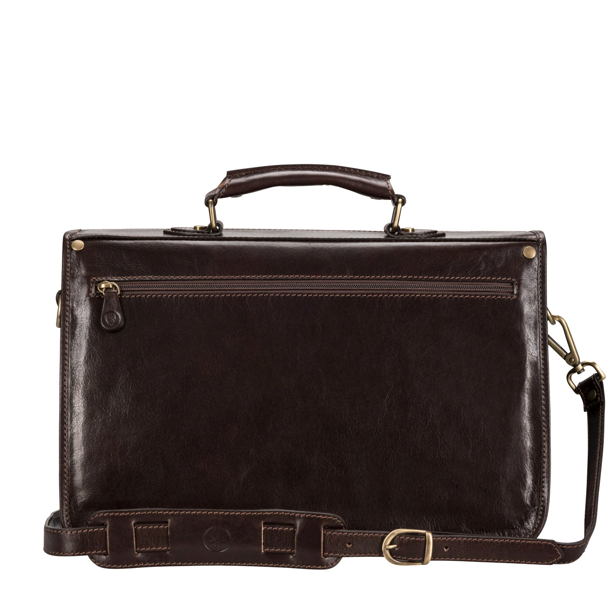Image 4 of the 'Jesolo Tre' Dark Chocolate Veg-Tanned Leather Satchel