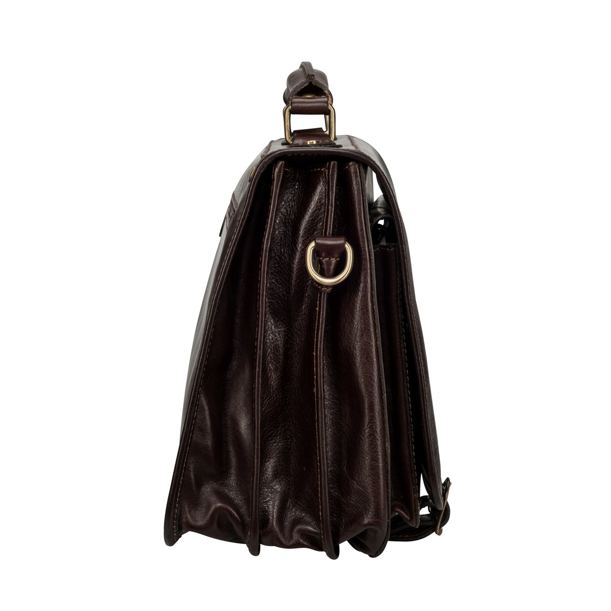Image 3 of the 'Jesolo Tre' Dark Chocolate Veg-Tanned Leather Satchel