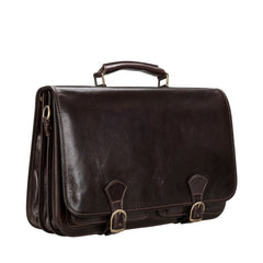 Image 2 of the 'Jesolo Tre' Dark Chocolate Veg-Tanned Leather Satchel