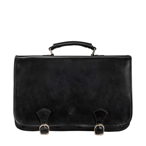 Image 1 of the 'Jesolo Tre' Black Veg-Tanned Leather Satchel