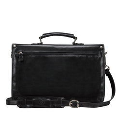 Image 4 of the 'Jesolo Tre' Black Veg-Tanned Leather Satchel