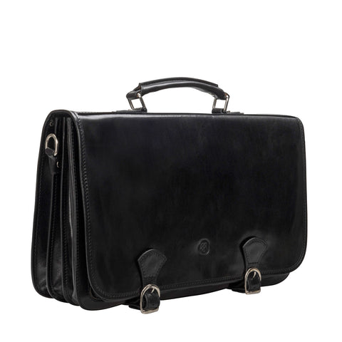 Image 2 of the 'Jesolo Tre' Black Veg-Tanned Leather Satchel