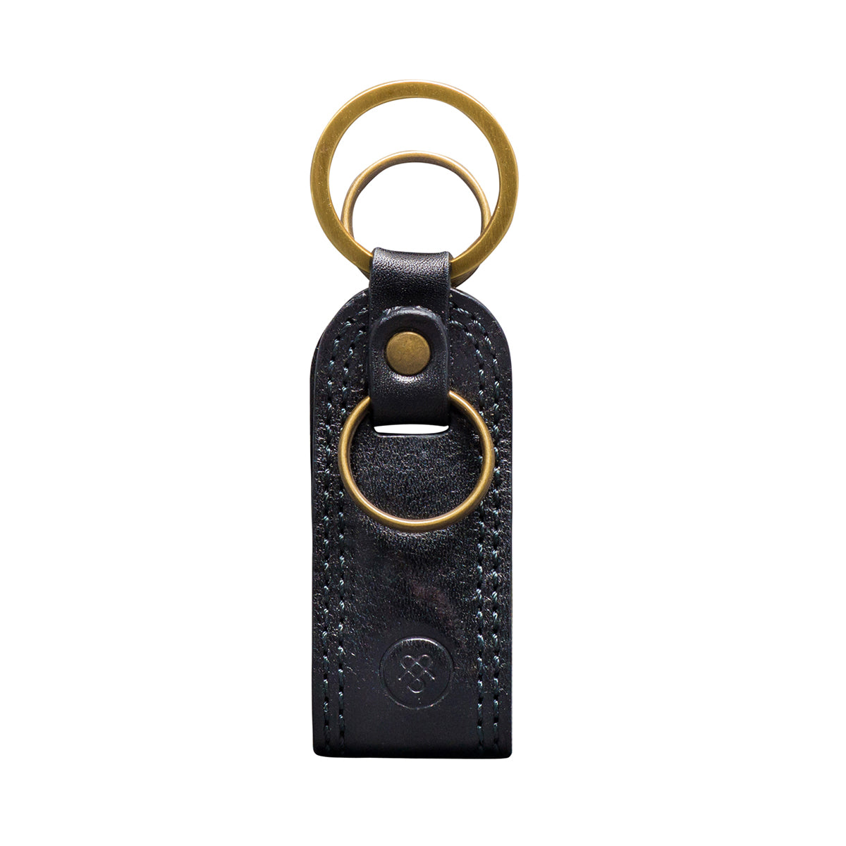 Image 1 of the 'Nepi' Black Veg-Tanned Leather Key Ring