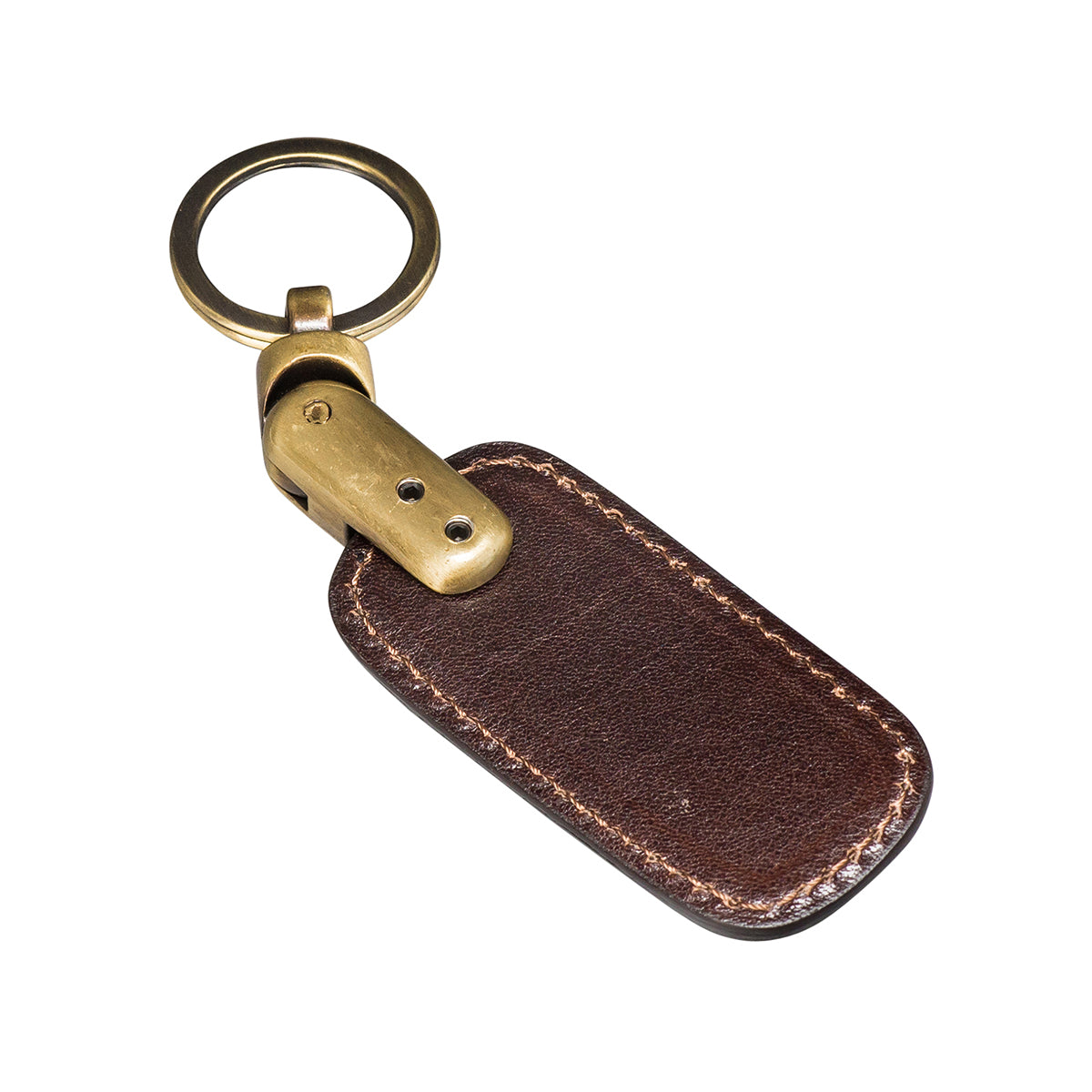 Image 2 of the 'Ponte' Dark Chocolate Veg-Tanned Leather Key Ring