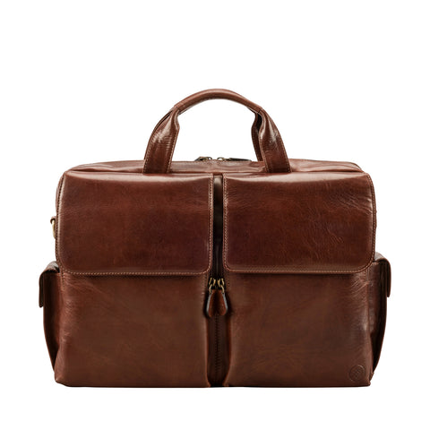 Image 1 of the 'Lagaro' Chestnut Veg-Tanned Leather Briefcase