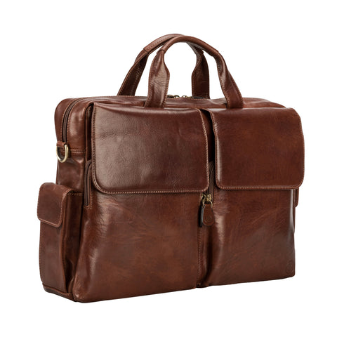Image 2 of the 'Lagaro' Chestnut Veg-Tanned Leather Briefcase
