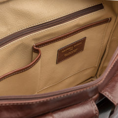 Image 6 of the 'Lagaro' Chestnut Veg-Tanned Leather Briefcase