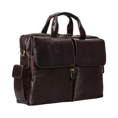 Image 2 of the 'Lagaro' Dark Chocolate Veg-Tanned Leather Briefcase
