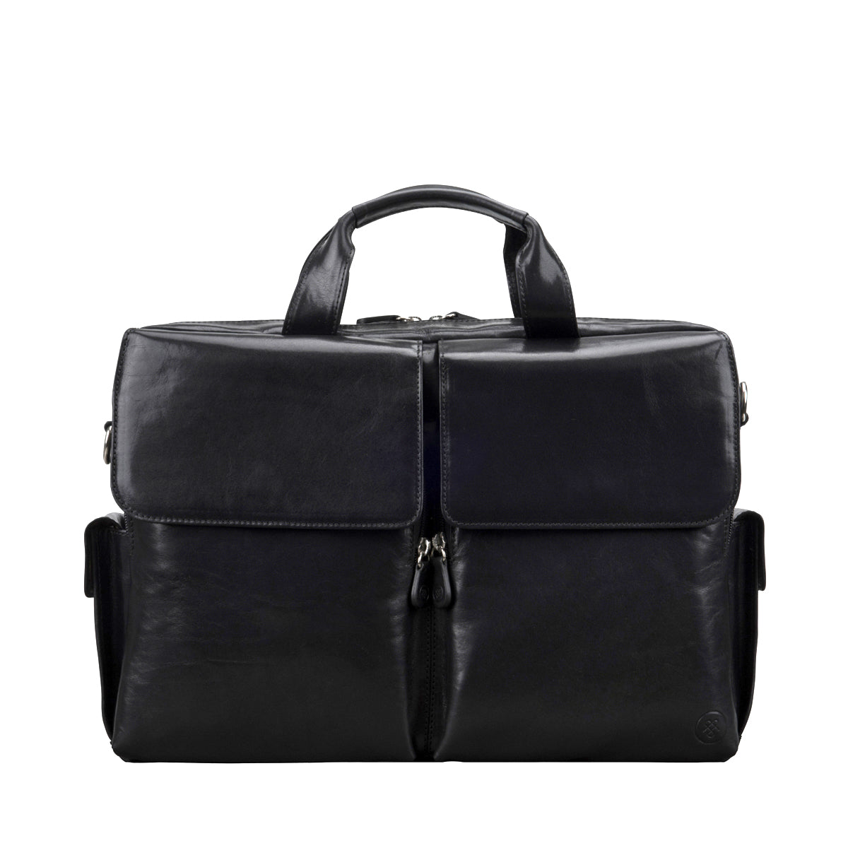 Image 1 of the 'Lagaro' Black Veg-Tanned Leather Briefcase