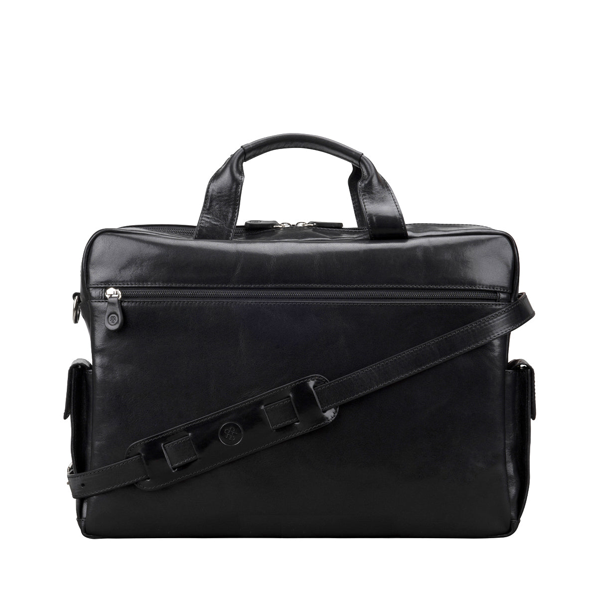 Image 4 of the 'Lagaro' Black Veg-Tanned Leather Briefcase