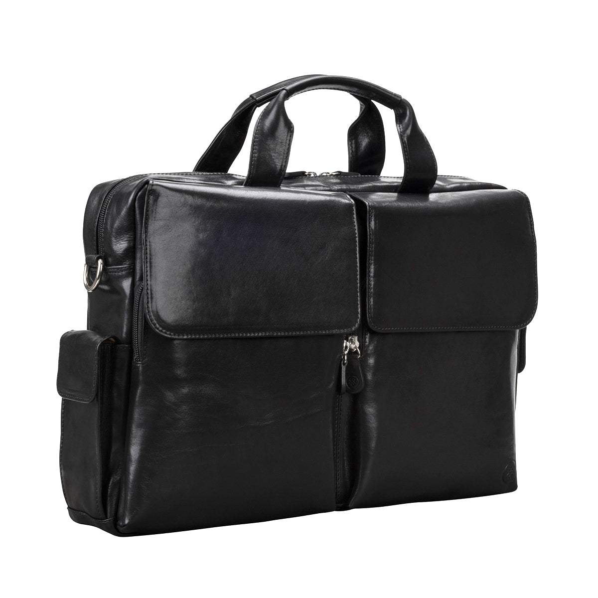 Image 2 of the 'Lagaro' Black Veg-Tanned Leather Briefcase
