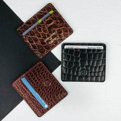 Image 6 of the 'Marco' Chestnut Mock Croc Veg-Tanned Leather Wallet