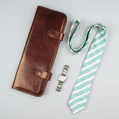 Image 5 of the 'Tivoli' Chestnut Veg-Tanned  Leather Tie Case