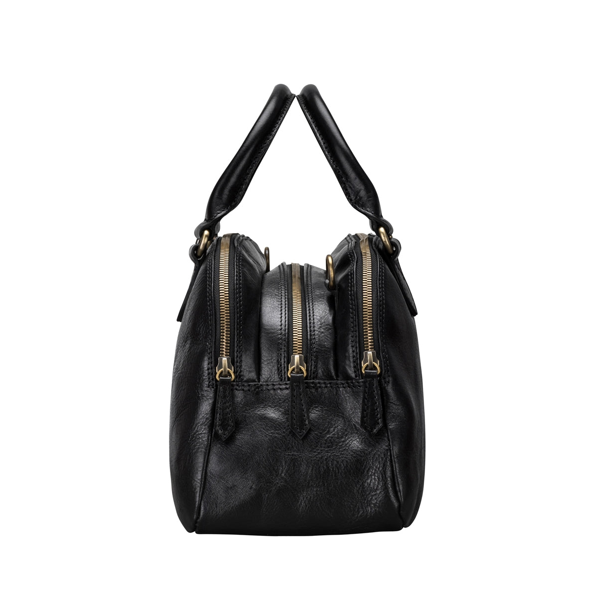 Image 3 of the 'Liliana' Black Veg-Tanned Leather Bowling Bag