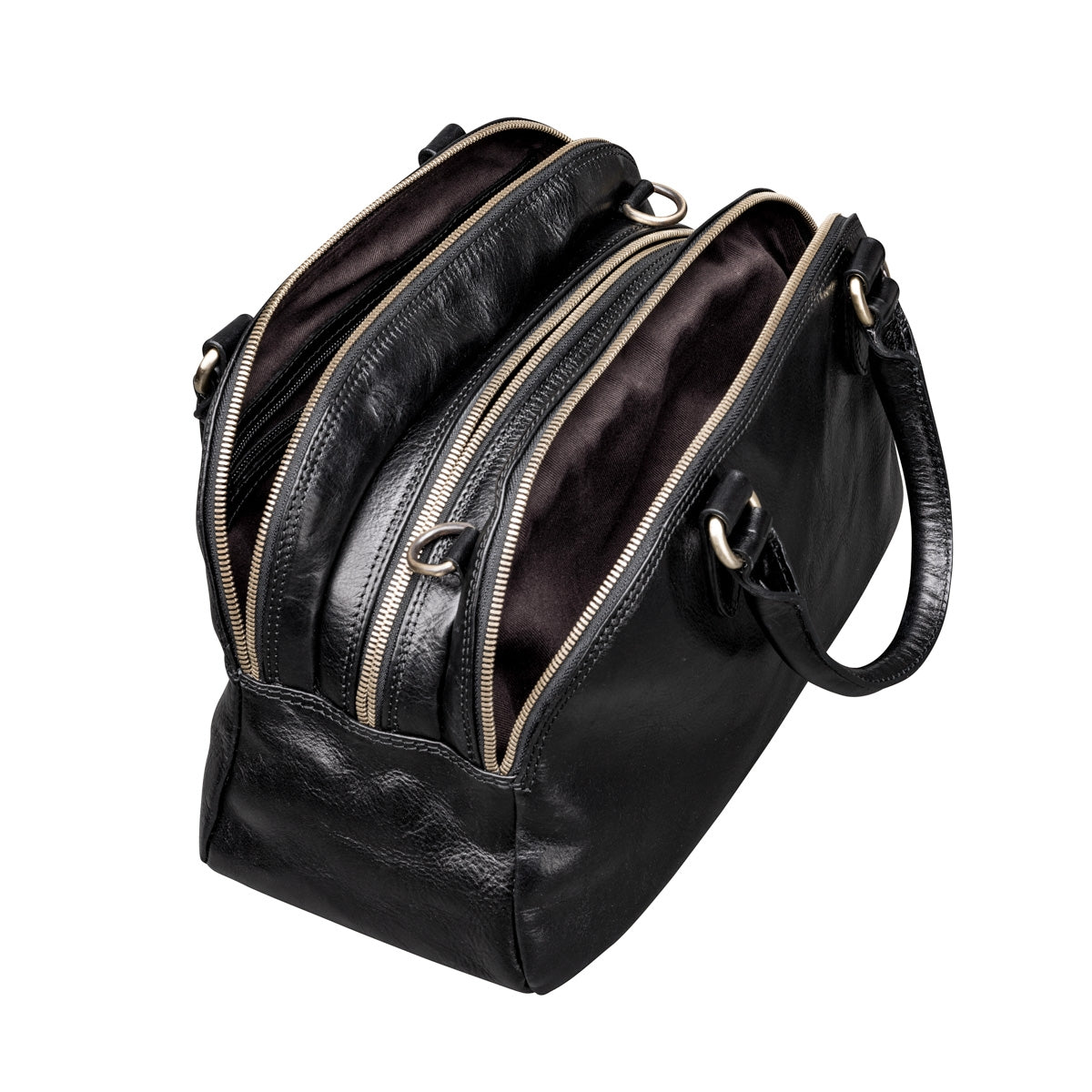 Image 5 of the 'Liliana' Black Veg-Tanned Leather Bowling Bag