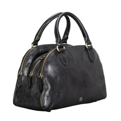 Image 2 of the 'Liliana' Black Veg-Tanned Leather Bowling Bag
