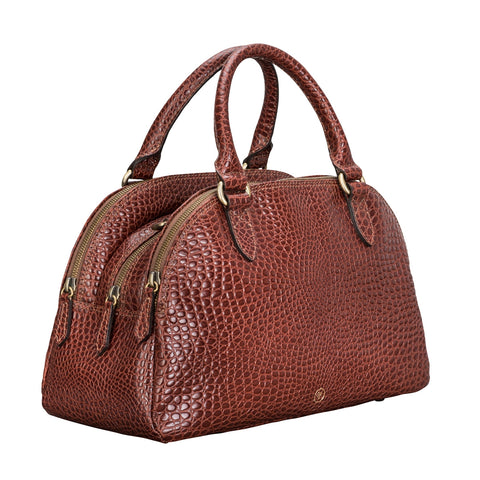 Image 2 of the 'Liliana' Chestnut Croco Bowling Bag