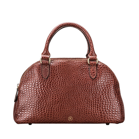 Image 1 of the 'Liliana' Chestnut Croco Bowling Bag
